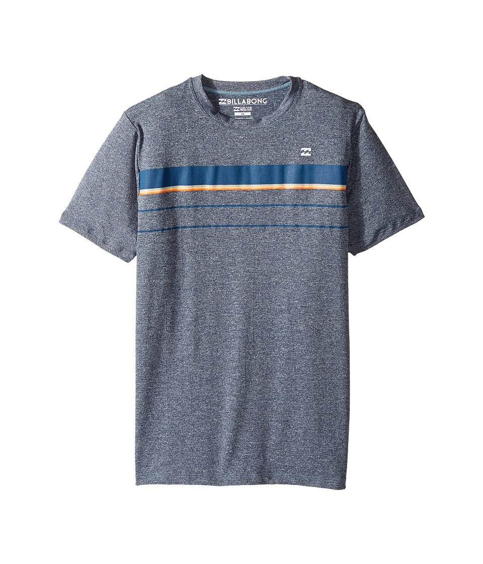 Billabong Kids Lo Tide Spinner LF Short Sleeve Wetshirt (Toddler/Little Kids/Big Kids) (Blue Heather) Boy