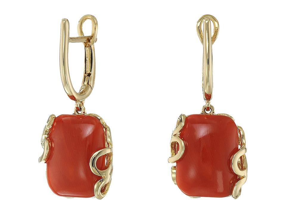 Miseno - Sea Leaf Yellow Gold Cushion Cut Earrings (Coral/Yellow Gold) Earring