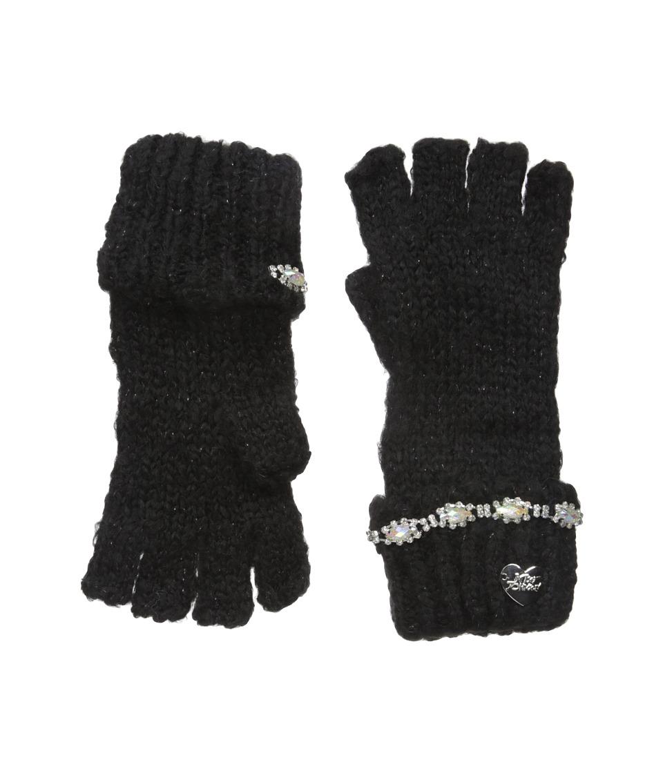 Betsey Johnson On the Rocks Half Finger Gloves (Black) Dress Gloves