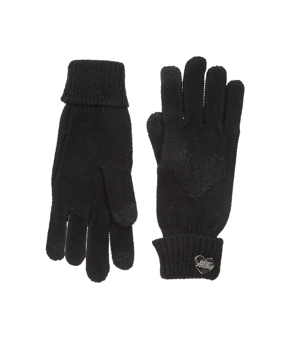 Betsey Johnson Open Your Heart One Touch Gloves (Black) Dress Gloves