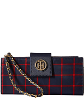 Tommy Hilfiger - Chain Wristlet Double Zip Plaid Nylon
