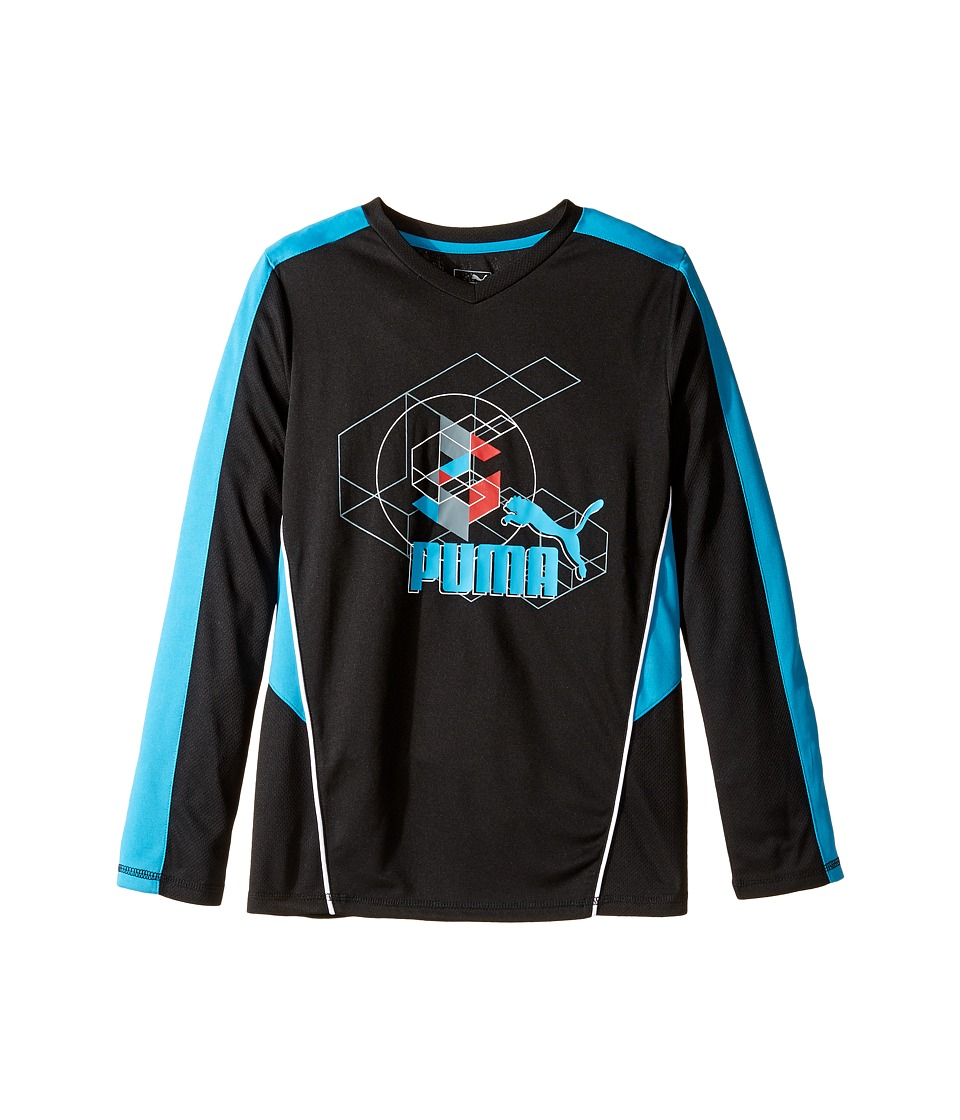 Puma Kids Long Sleeve Poly Tee Geometric (Big Kids) (PUMA Black) Boy