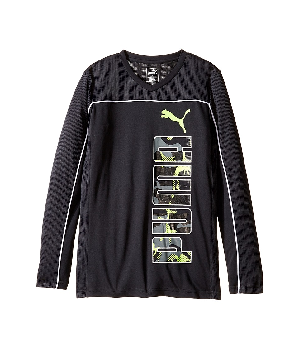 Puma Kids Long Sleeve Poly PUMA Tee (Big Kids) (Dark Grey) Boy