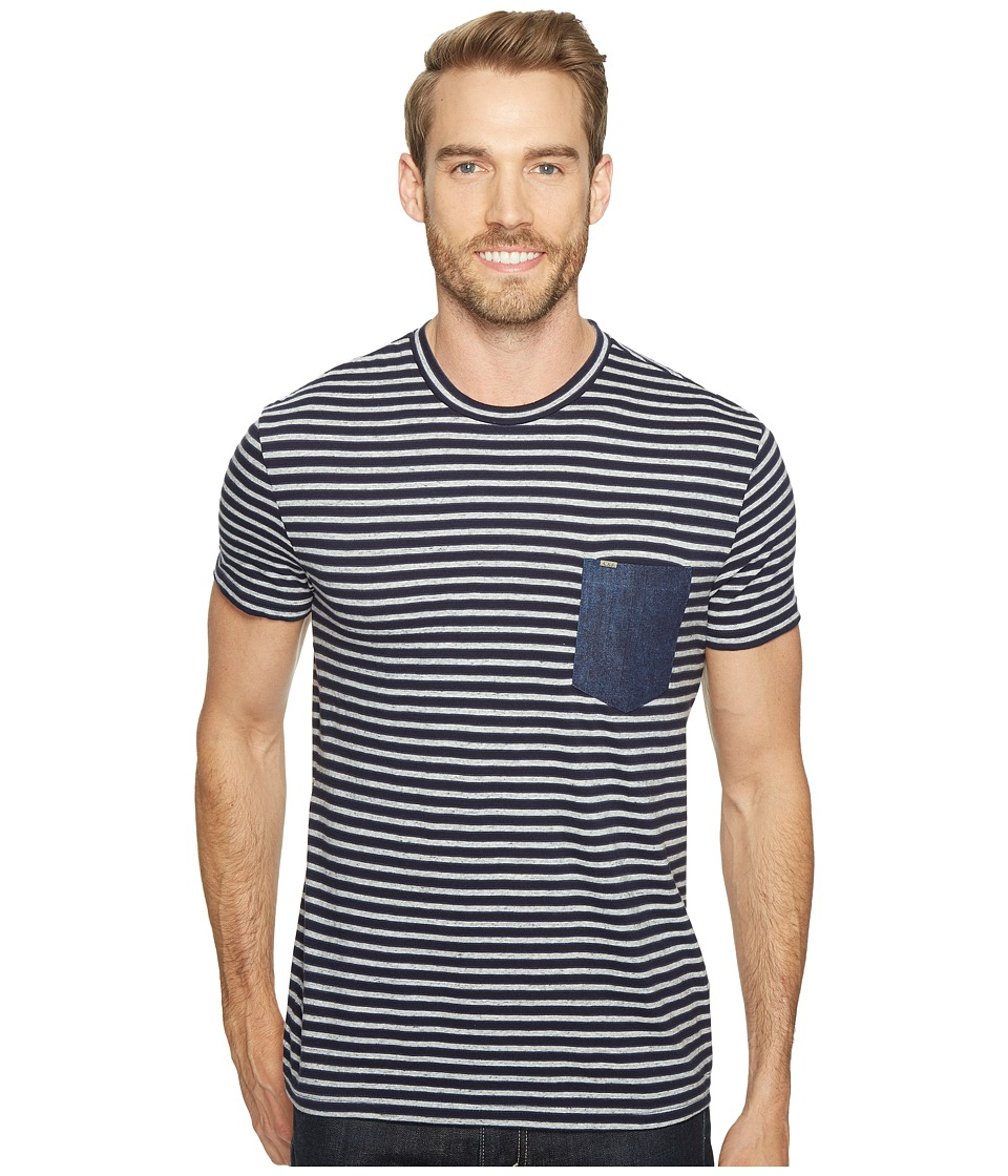 Calvin Klein Jeans Stripe Tee with Denim Pocket (Navy Armada) Men