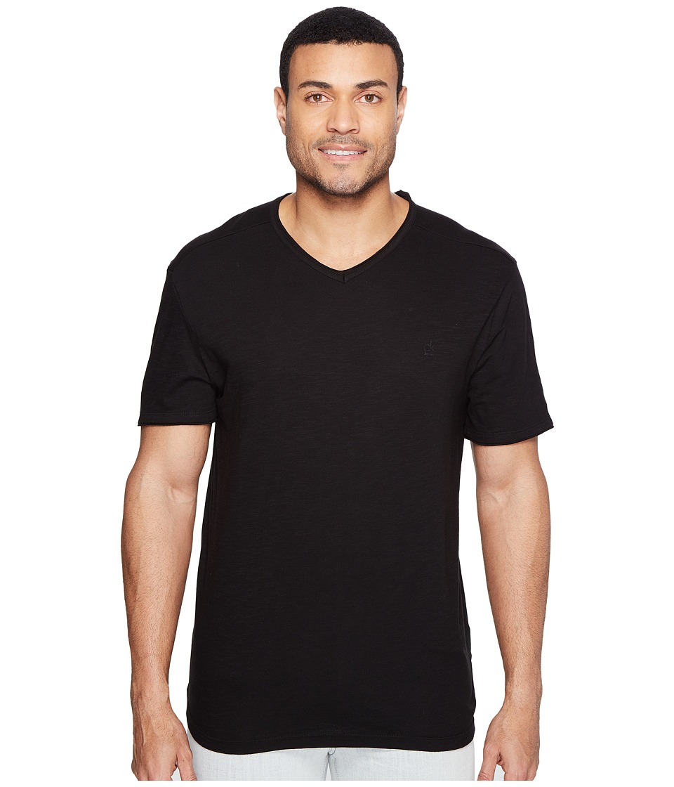 Calvin Klein Jeans Mixed Media V-Neck Tee (Black) Men