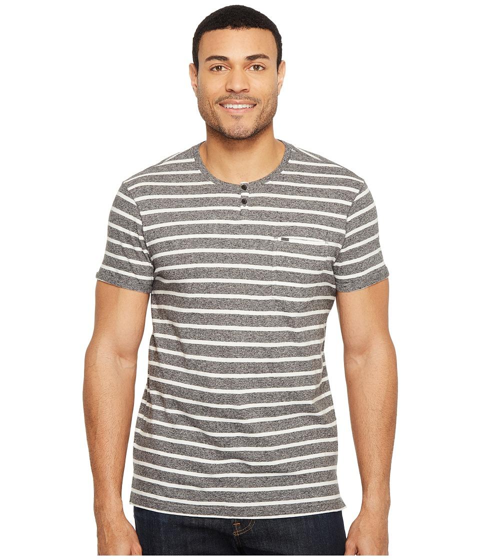 Calvin Klein Jeans Ecru Stripe Slit Neck Tee (Charcoal Grindle) Men