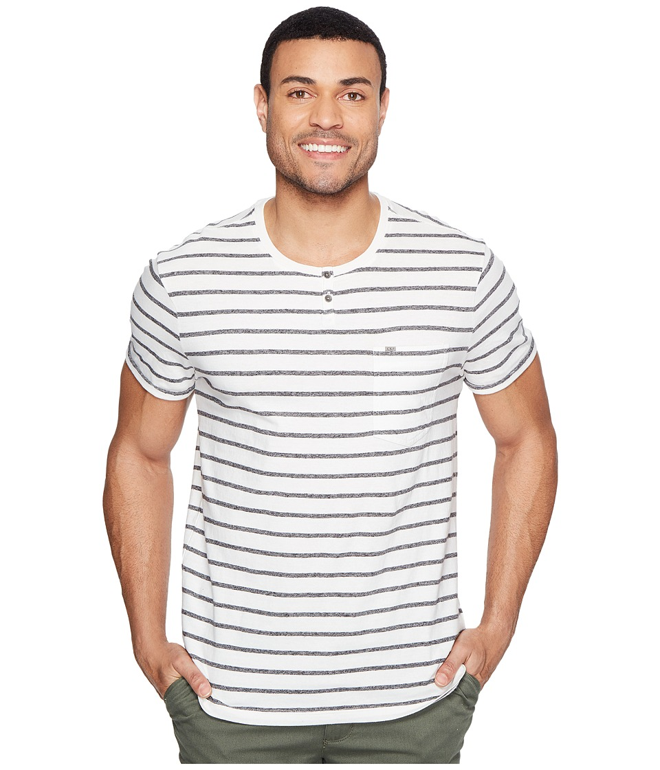 Calvin Klein Jeans Ecru Stripe Slit Neck Tee (Ecru) Men