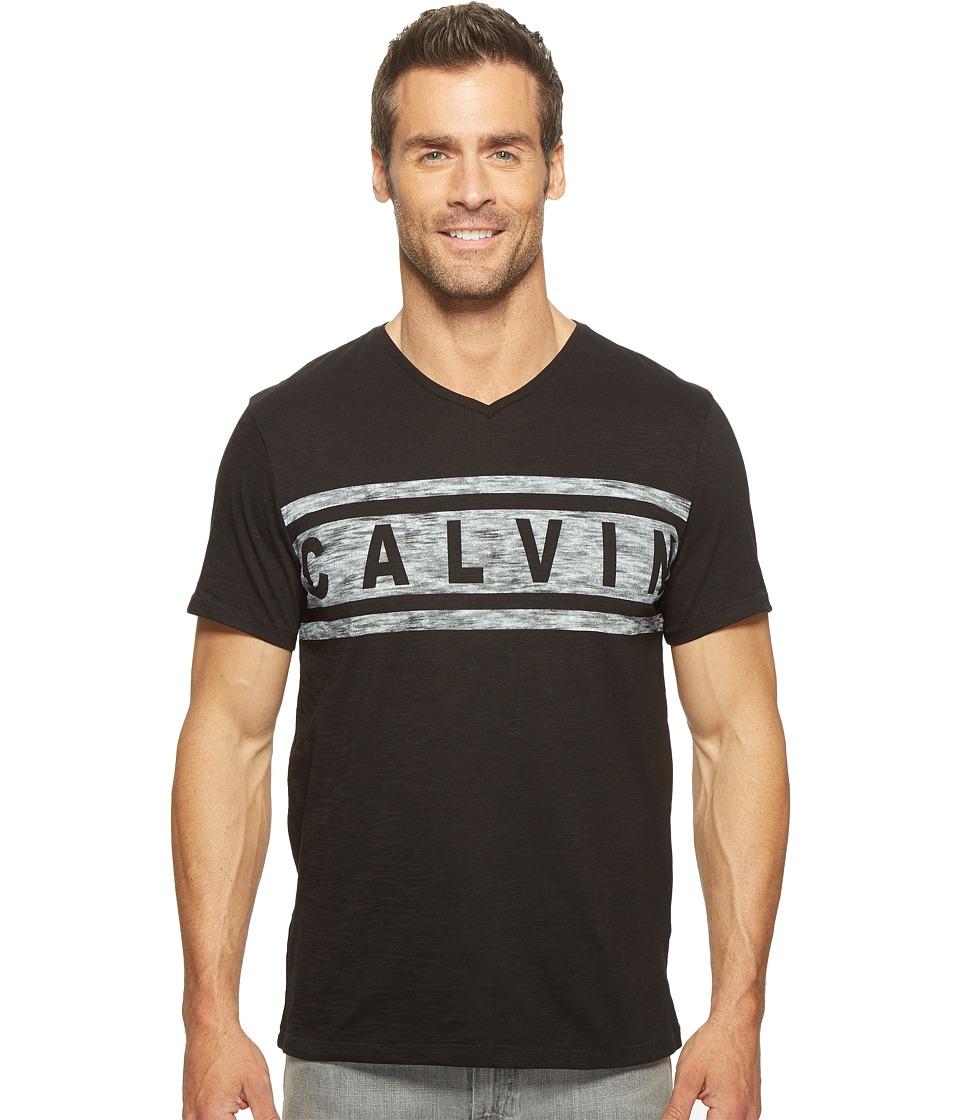 Calvin Klein Jeans Stripe Calvin Logo V-Neck Tee (Black) Men