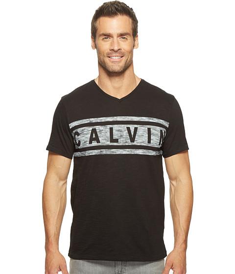 Calvin Klein Jeans Stripe Calvin Logo V-Neck Tee