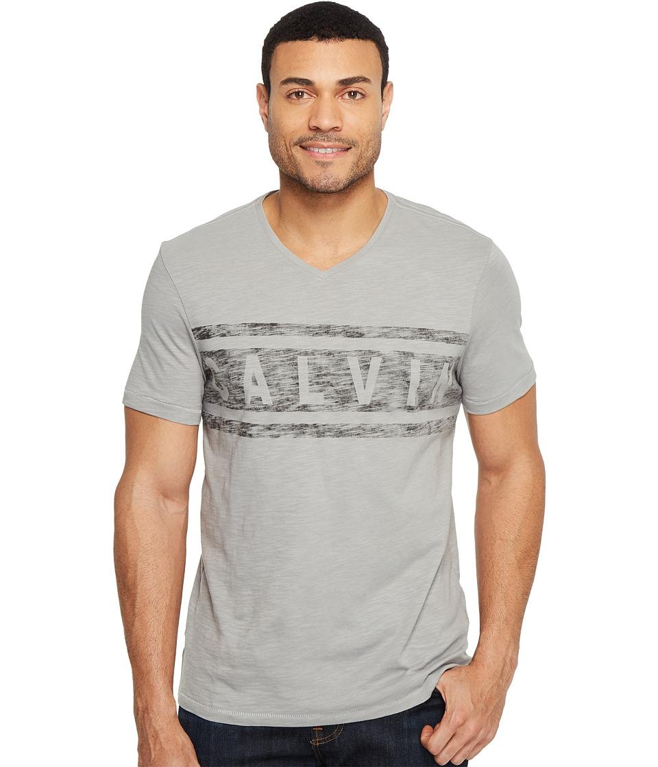Calvin Klein Jeans Stripe Calvin Logo V-Neck Tee (Chrome) Men