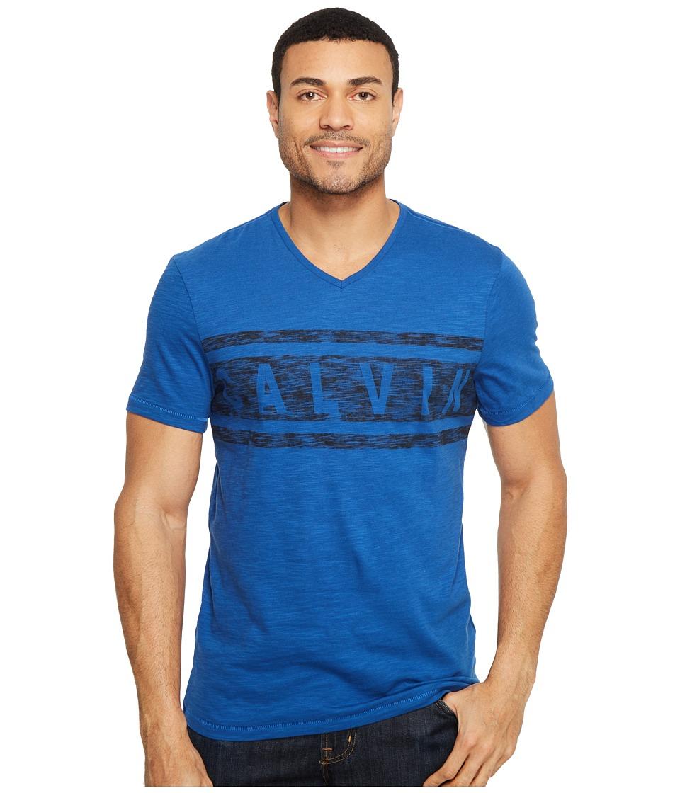 Calvin Klein Jeans Stripe Calvin Logo V-Neck Tee (Monaco Blue) Men