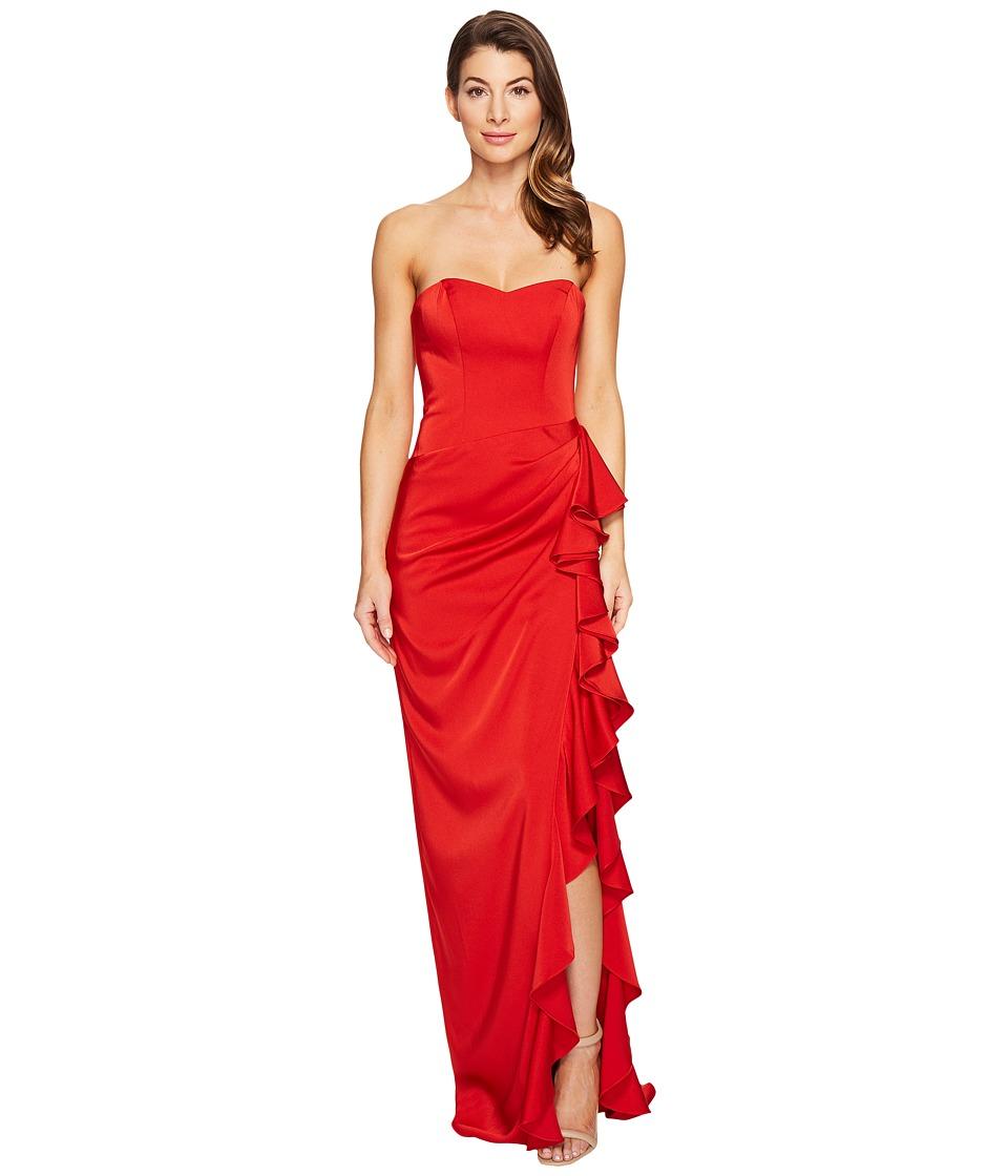 Faviana Faille Satin Strapless w/ Cascade 7950 (Red) Women