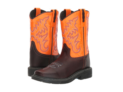 Old West Kids Boots Square Toe Work Sole Boot (Toddler/Little Kid) - Thunder Oil