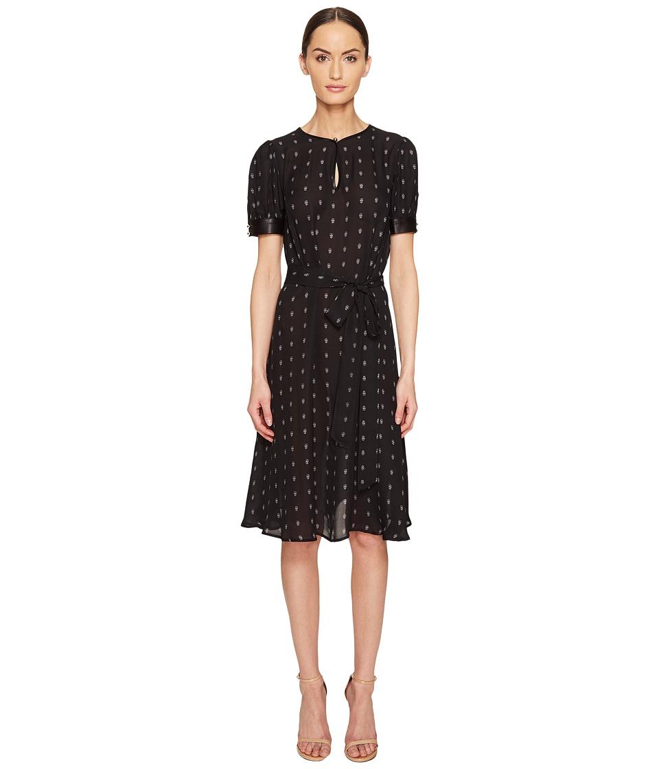 THOMAS WYLDE - Alyssum Silk Georgette Printed Short Sleeve Dress