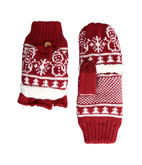 San Diego Hat Company KNG3476 Snowflake Pop Over Gloves - Red