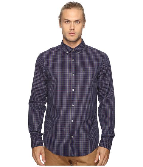 Original Penguin Vintage Gym Long Sleeve Tattersall Check Oxford Woven Shirt - Evening Blue