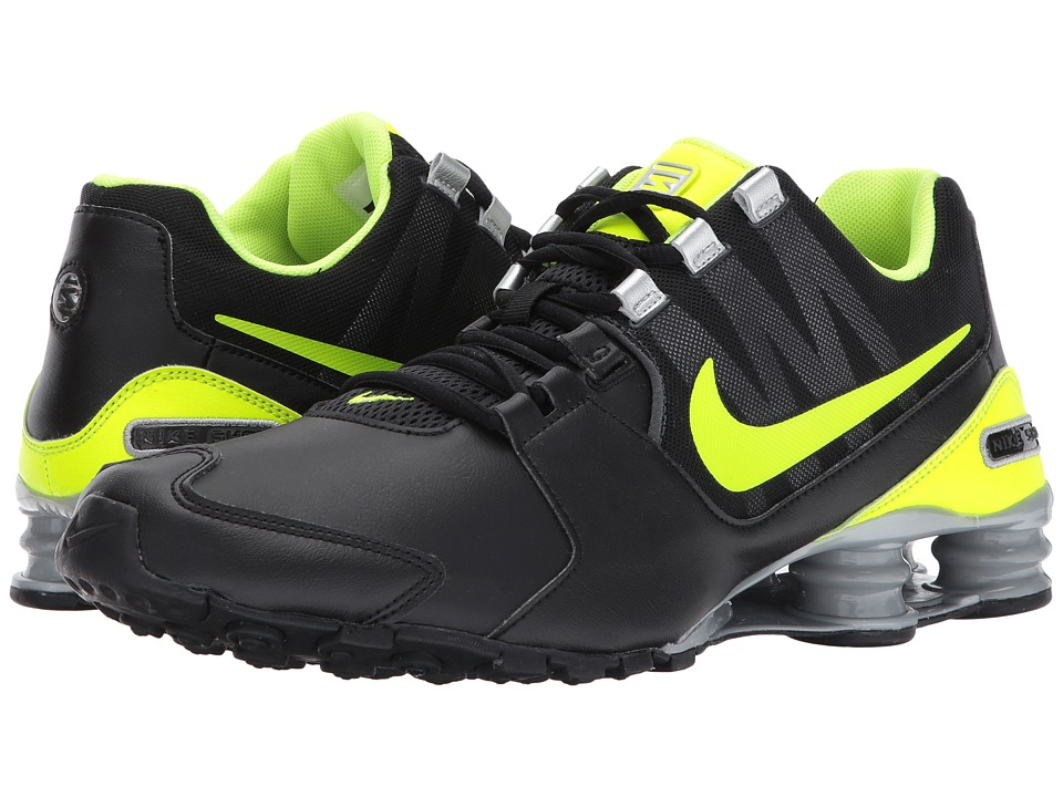 Nike - Shox Avenue Leather (Black/Volt/Anthracite/Metallic Silver) Men's Running Shoes