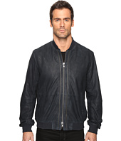 John Varvatos Star U.S.A. - Zip Front Leather Bomber with Rib Trim At Collar Cuffs and Waist L1000S4B