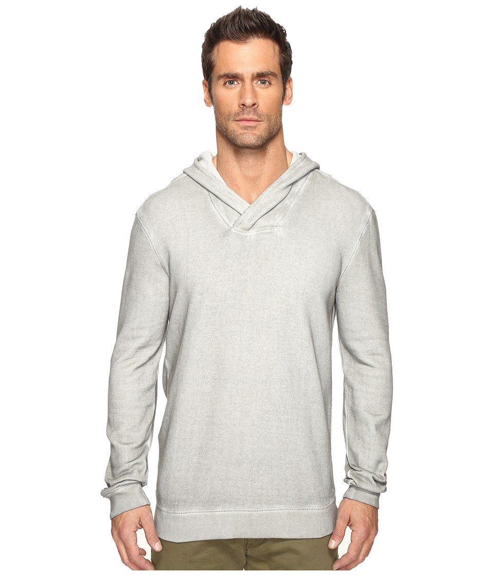John Varvatos Star U.S.A. Long Sleeve Reverse Pullover Knit Hoodie with Cross Over Neckline K2891S4B (Reflection Grey) Men