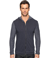 John Varvatos Star U.S.A. - Long Sleeve Zip Front Knit Hoodie with Reverse Jersey Sleeves and Hood K2905S4B