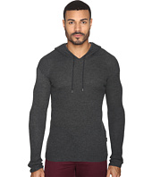 John Varvatos Star U.S.A. - Waffle Stitch Long Sleeve Drop Shoulder Pullover Hoodie Sweater Y1471S4B