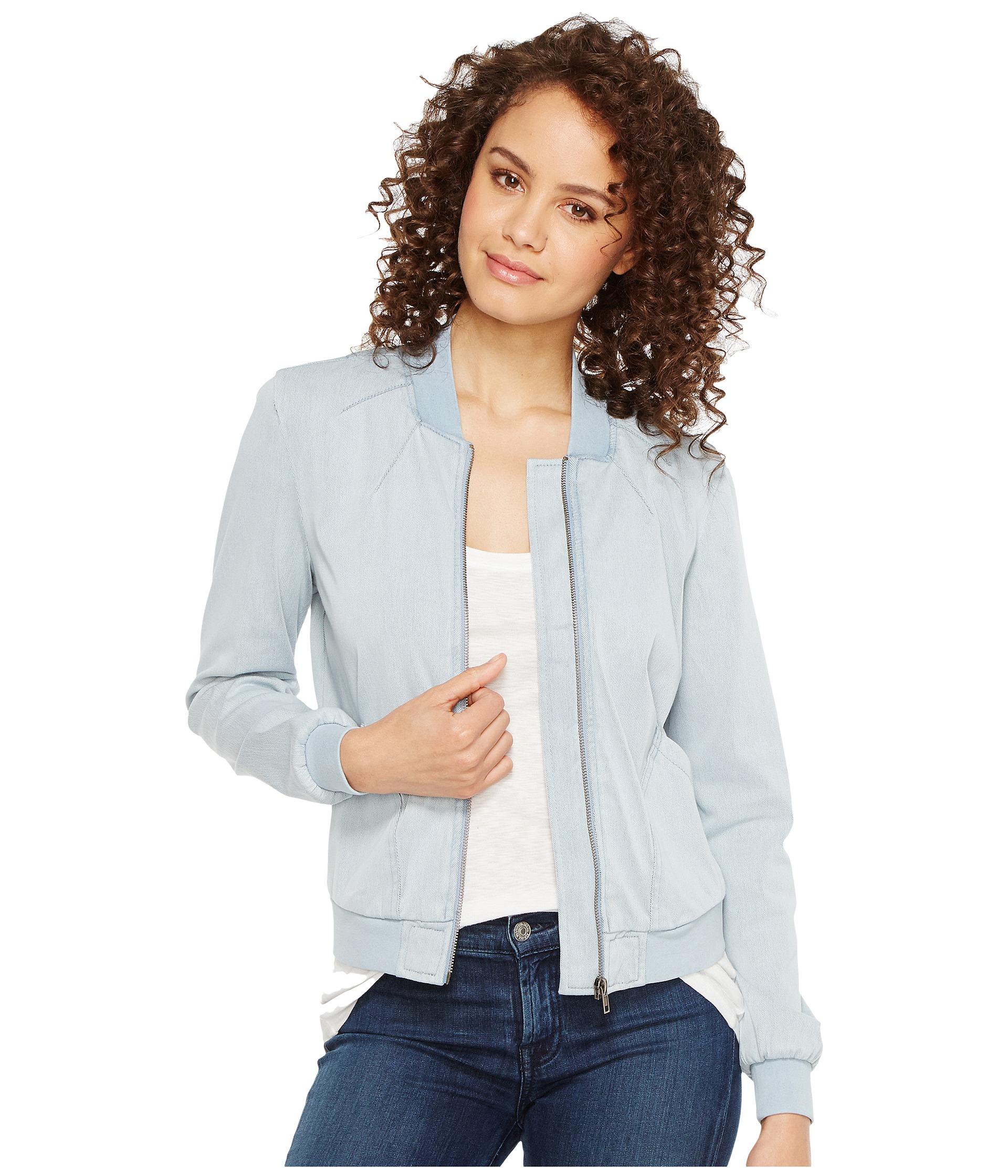 Liverpool bomber jacket in powerflex knit denim at for Schoolboy q girl power shirt