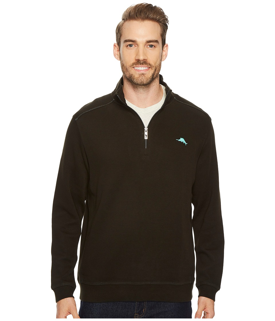 Tommy Bahama Nassau 1/2 Zip Long Sleeve Knit Shirt (Black) Men