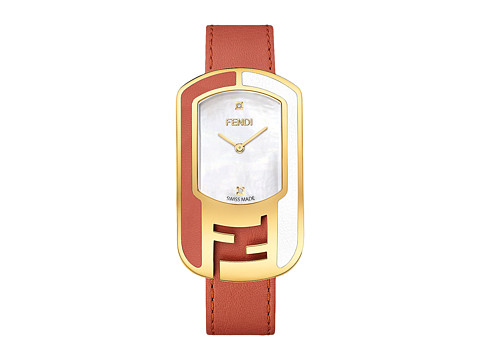 Fendi Timepieces Chameleon Leather 29X49mm - Yellow Gold/Coral