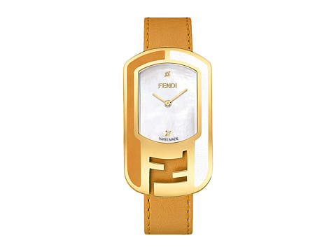 Fendi Timepieces Chameleon Leather 29X49mm - Yellow Gold/Tan