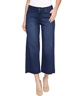 Liverpool - Layla Wide Leg Crop with Released Hem on Silky Soft Denim in Havasu Deep Blue