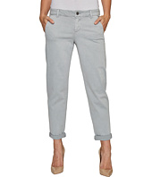 Liverpool - Billy Trousers Rolled-Cuff in Stretch Peached Twill in Pearl Grey
