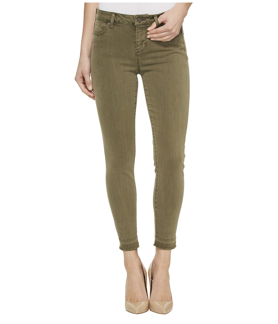 Liverpool Liverpool - Avery Crop Released Hem in Pigment Dyed Slub Stretch Twill in Olive Night