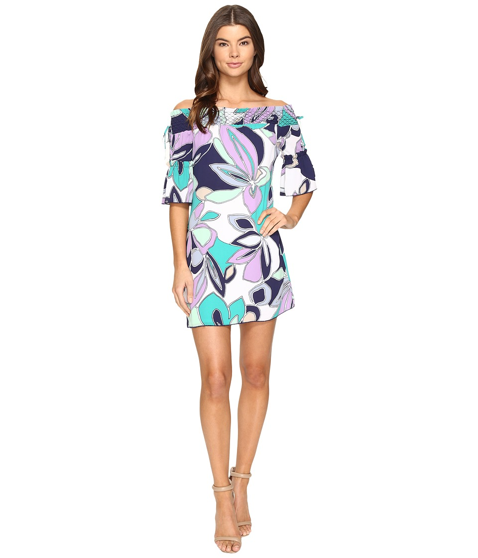 Laundry by Shelli Segal Off the Shoulder Print Dress w/ Smocking (English Lavender) Women