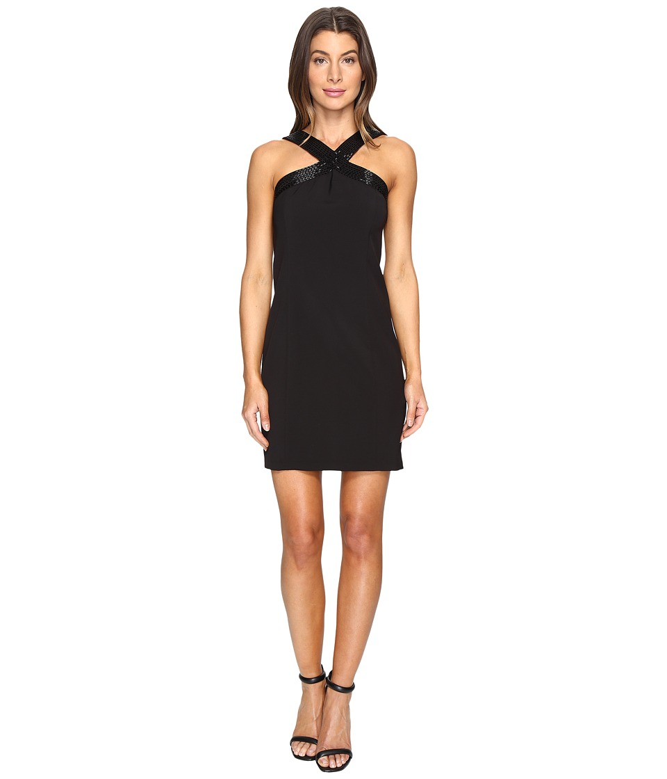 Laundry by Shelli Segal Cross Front Beaded Cocktail Dress (Black) Women