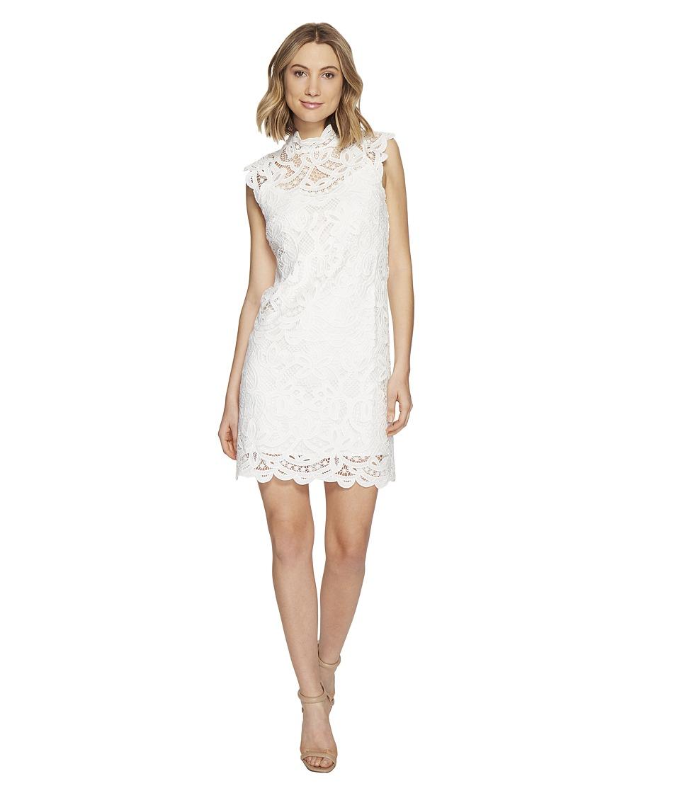 Laundry by Shelli Segal Mock Neck Venise Dress w/ Scallop Detail (Optic White) Women
