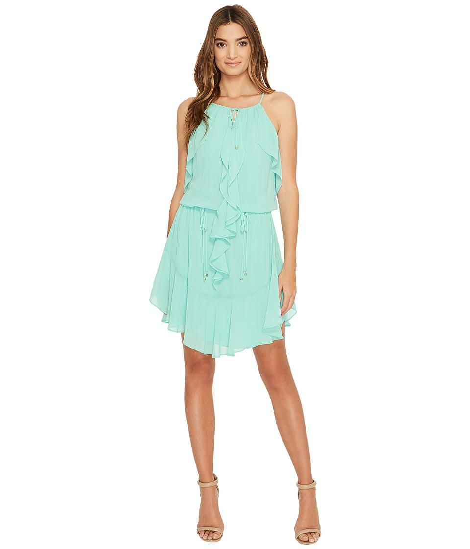 Laundry by Shelli Segal Boho Chic Ruffle Dress w/ Tie Details (Dusty Jade Green) Women