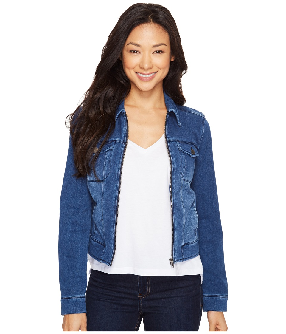 Liverpool - Denim Zip Jacket in Powerflex Knit Denim (Indigo Medium Wash) Womens Coat