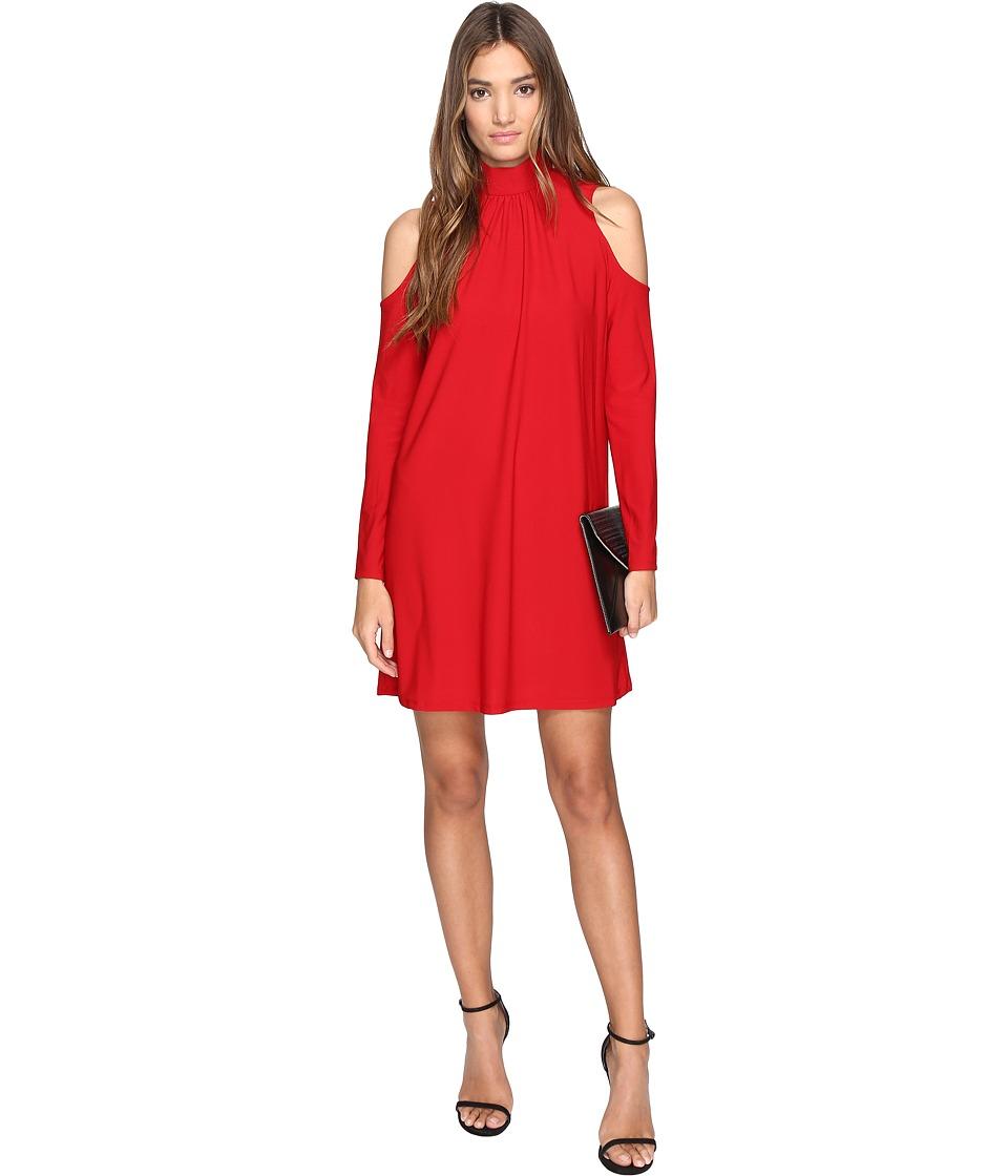 kensie Slinky Knit Cold Shoulder Dress KS2K7728 (Red Lipstick) Women