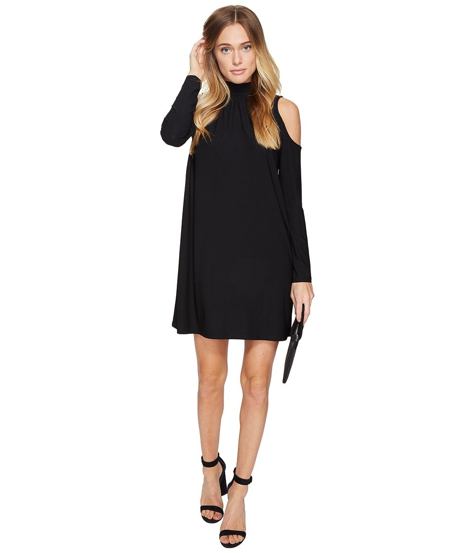 kensie Slinky Knit Cold Shoulder Dress KS2K7728 (Black) Women