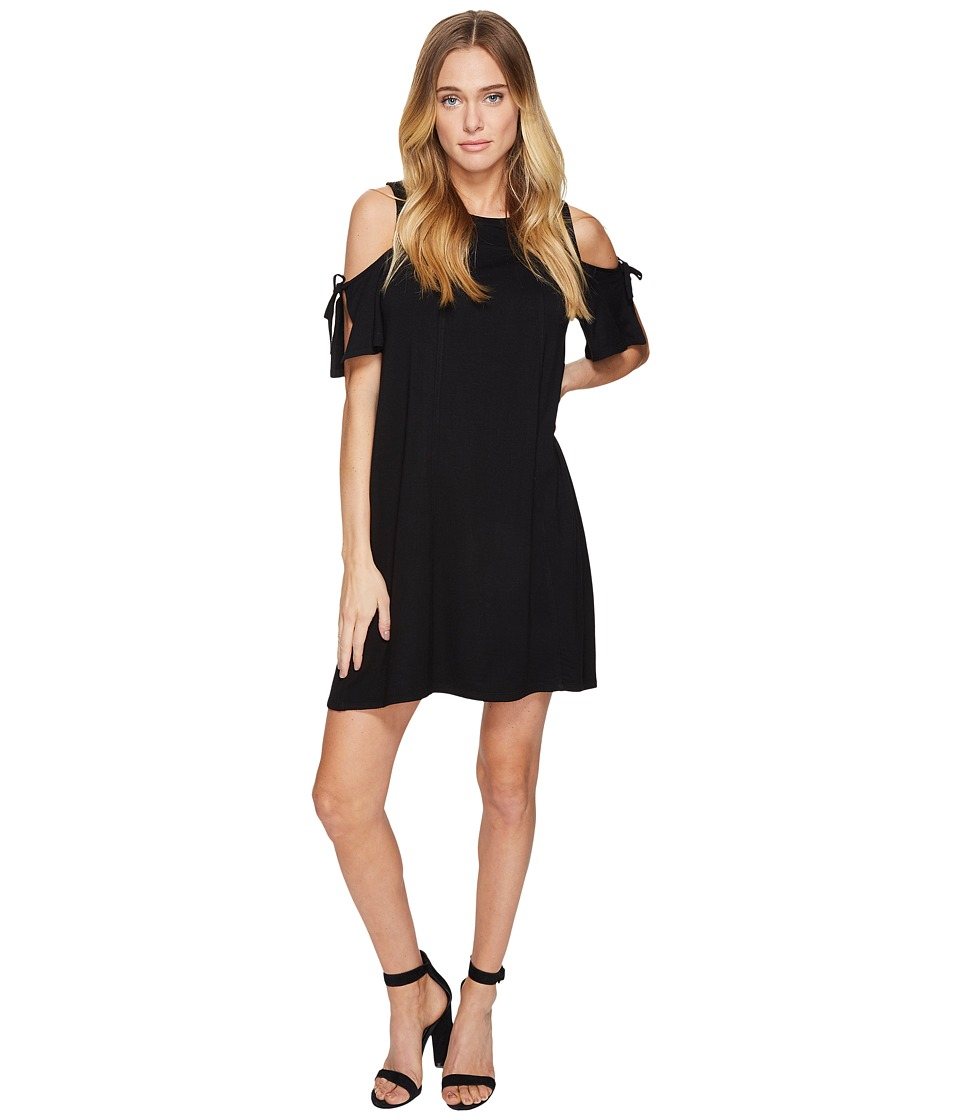 kensie Drapey French Terry Dress with Cold Shoulder KS2K7541 (Black) Women