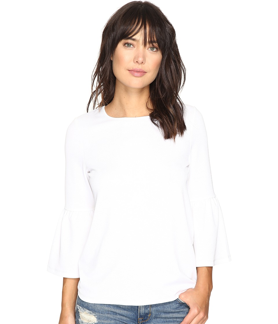 kensie - Stretchy Crepe Tees Top KS3K3387 (White) Womens T Shirt