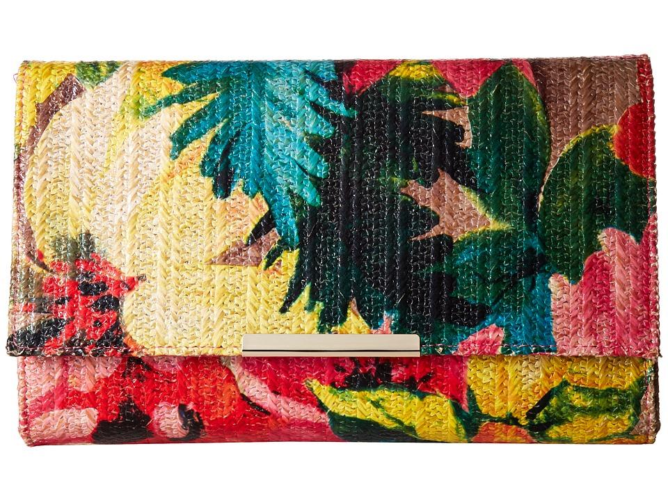 Jessica McClintock - Nora Printed Floral Straw Envelope Clutch