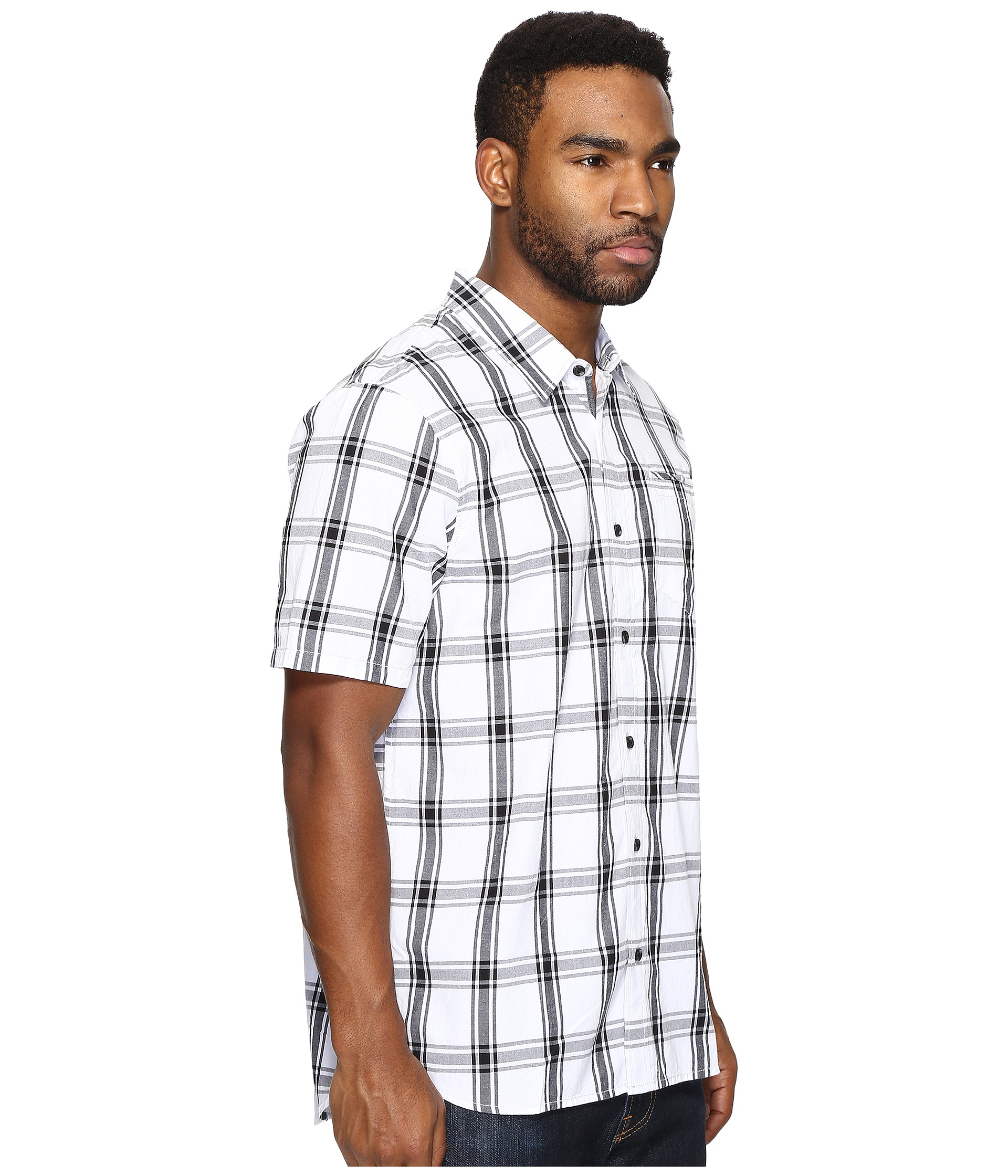 Vans stafford short sleeve woven white black for Stafford white short sleeve dress shirts