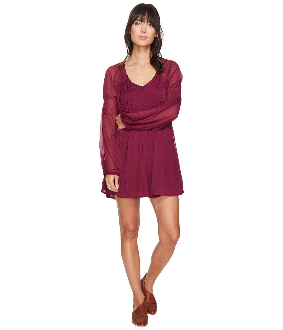 Free People Lini Smocked Mini Dress (Wine) Women
