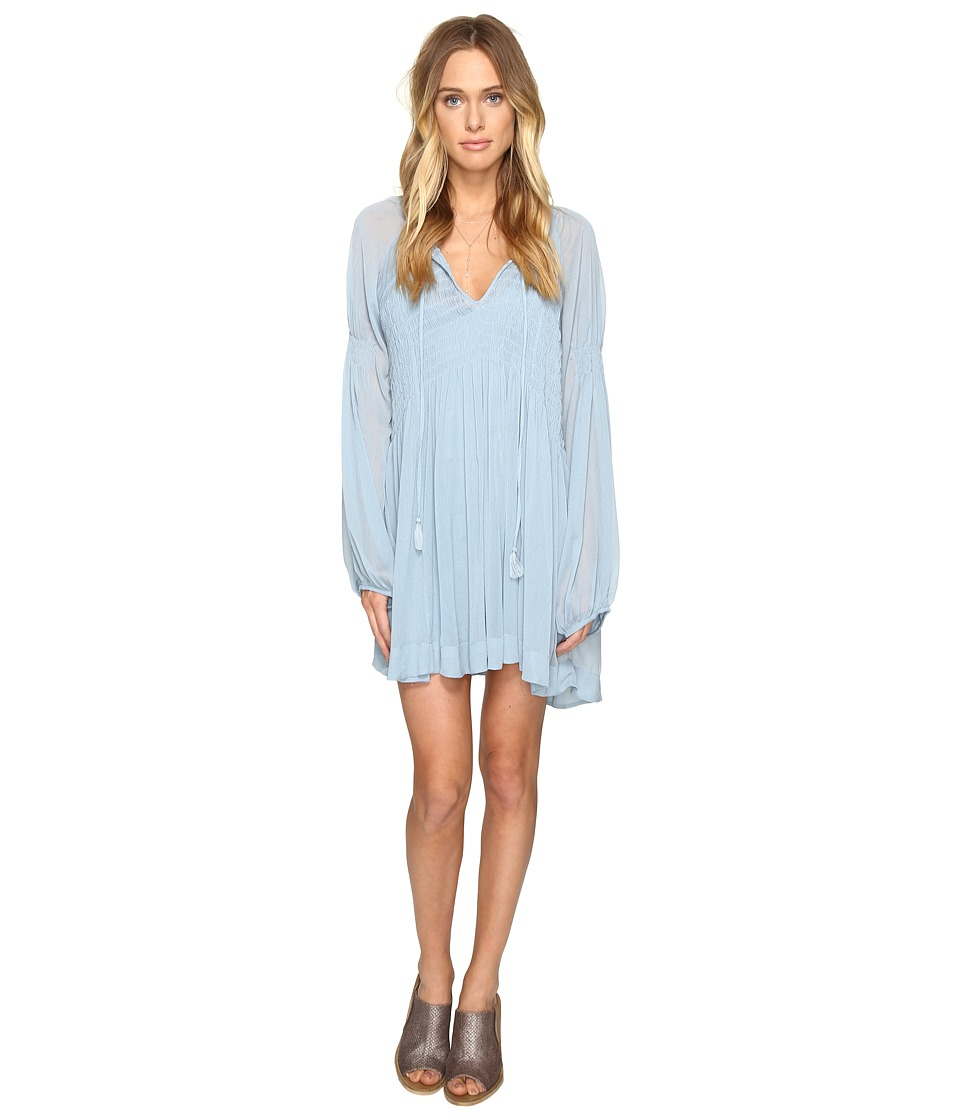 Free People Lini Smocked Mini Dress (Blue) Women