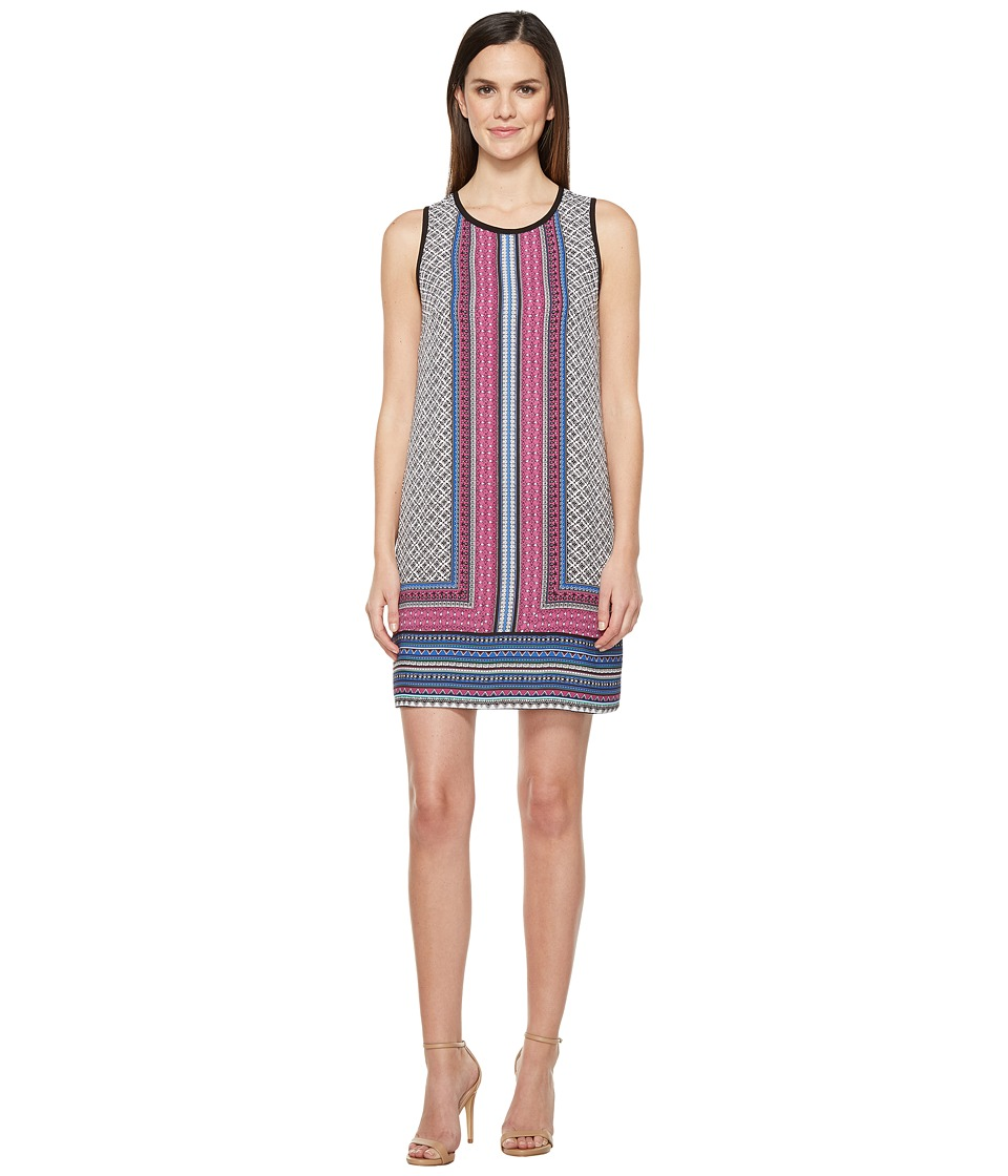 Laundry by Shelli Segal Printed Sleeveless Trapeze Dress w/ Contrast (Dark Crocus) Women