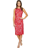Maggy London - Rose Bloom Lace Sheath Dress with Gingham