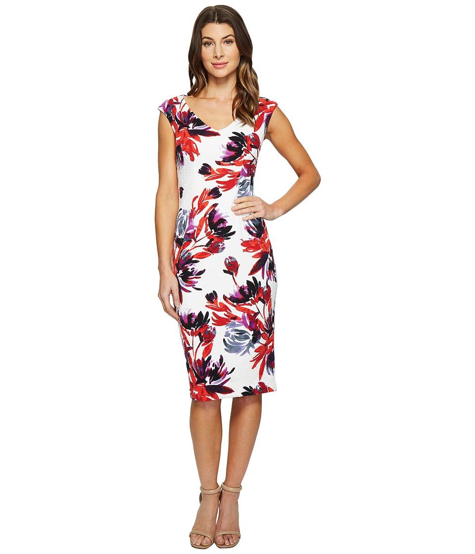 Maggy London Firework Garden Blossom Texture Sheath Dress (White/Coral) Women