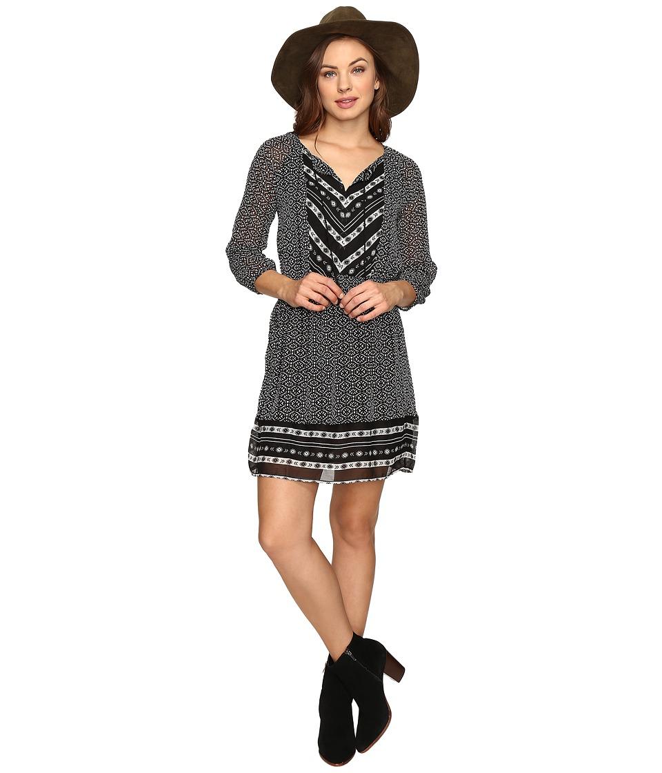 Lucky Brand Chevron Print Maxi Dress (Black Multi) Women