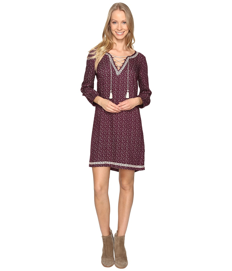 Lucky Brand Embroidered Ditsy Dress (Purple Multi) Women